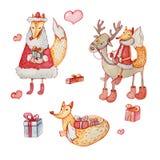 En uppsättning av jultecken: räv och hjortar vektor illustrationer