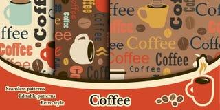 En uppsättning av kaffetexturer i en plan stil Texturer med text Co royaltyfri illustrationer
