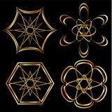 En uppsättning av keltisk blom- garnering- eller tatueringkonst royaltyfri illustrationer