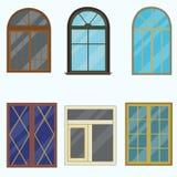 En uppsättning av klassiska fönster för byggnader Fotografering för Bildbyråer