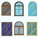 En uppsättning av klassiska fönster för byggnader Arkivbild