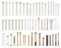 En uppsättning av kolonner och pelare av olika stilar Arkitektoniskt berättigande på vit bakgrund visualization 3d Royaltyfri Fotografi