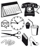 Kontorstillförsel och diagram royaltyfri illustrationer