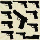 En uppsättning av konturer av pistoler Royaltyfria Bilder