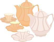 En uppsättning av krukor och koppar stock illustrationer