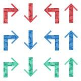 En uppsättning av kulöra pilar Tetris royaltyfri illustrationer