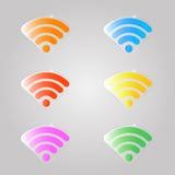 En uppsättning av kulört tecken för en wifi Fotografering för Bildbyråer