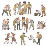 En uppsättning av lägen av konflikten och kamper, missbruk och personligt våld som trakasserar mellan barn stock illustrationer