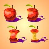 En uppsättning av låga poly äpplen som ätas gradvist Arkivbilder