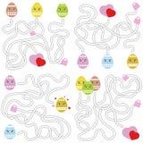 En uppsättning av labyrinter Tecknad filmstil Visuella arbetssedlar Aktivitetssida modiga ungar Pussel för barn Labyrintgåta Färg vektor illustrationer