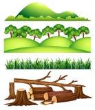 En uppsättning av landskapbeståndsdelen stock illustrationer