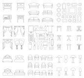 En uppsättning av linjära inre objekt också vektor för coreldrawillustration royaltyfri illustrationer
