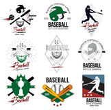 En uppsättning av logoer, etiketter och designbeståndsdelar av baseball Royaltyfria Foton