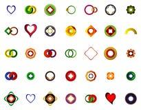 En uppsättning av logoer, symboler och grafiska beståndsdelar Arkivbild