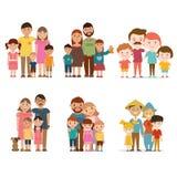 En uppsättning av lyckliga familjer Arkivfoton