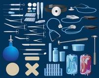 En uppsättning av målade medicinska förnödenheter royaltyfri illustrationer