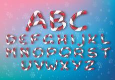 En uppsättning av mång--färgade karamellbokstäver Ljusa nytt års för vektor stilsort Randigt tecknad filmalfabet royaltyfri illustrationer