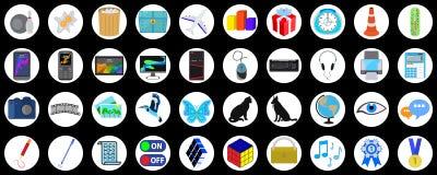 En uppsättning av mångfärgade plana symboler på olika ämnen som isoleras vektor illustrationer
