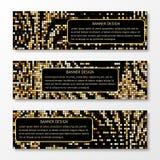 En uppsättning av mönstrade baner för guld- mosaik Royaltyfria Bilder