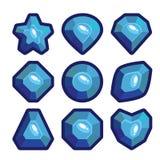 En uppsättning av mörker - blåa emblem av ädelstenar Fotografering för Bildbyråer