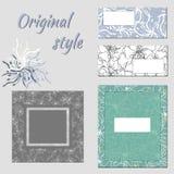 En uppsättning av mallar för text som brännmärker royaltyfri illustrationer
