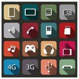 En uppsättning av mobila symboler, vektorillustration Arkivfoton