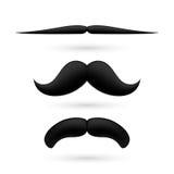 En uppsättning av mustasch tre Arkivbilder