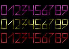 En uppsättning av nummer Guling rött och rosa Diagramen består av p Royaltyfria Bilder