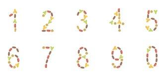 En uppsättning av nummer komponerade av etiketter för älsklings- mat (katten eller hunden) Arkivfoton