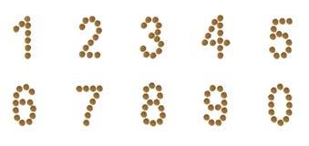 En uppsättning av nummer komponerade av etiketter för älsklings- mat (katten eller hunden) Fotografering för Bildbyråer