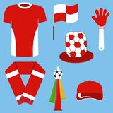 En uppsättning av objekt för fotbollfan Ämnen av sportfanen royaltyfri illustrationer