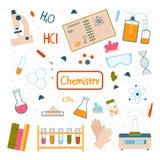 En uppsättning av objekt för kemiska experiment Skolakurs Vektorillustration som isoleras p? vit bakgrund royaltyfri illustrationer