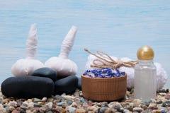 En uppsättning av objekt för SPA på små stenar och växt- massagepåsar royaltyfri fotografi