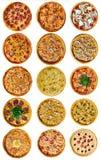 En uppsättning av olik pizza nio för menyn, med ost, med skinka, med salami, med champinjoner, med holopina med tomater på royaltyfri fotografi