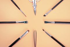 En uppsättning av olika borstar för makeupkonstnär, pincetten och saxen ligger i en cirkel med copyspace för text på rosa färg royaltyfri fotografi