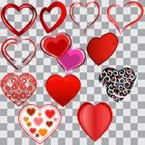 En uppsättning av olika hjärtor för valentin dag som isoleras stock illustrationer