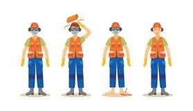 En uppsättning av olyckor med en arbetare i en orange likformig i konstruktion vektor illustrationer