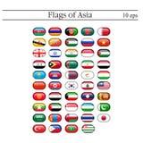 En uppsättning av ovala emblem för flaggor askfat 10 eps stock illustrationer
