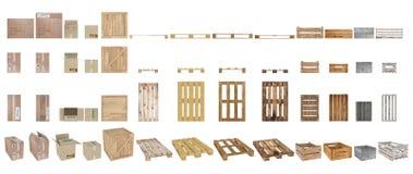 En uppsättning av paletter, askar och lådor Bästa sikt, sidosikt, främre sikt och perspektiv bakgrund isolerad white framförande  Arkivbilder