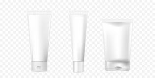 En uppsättning av photorealistic vita kosmetiska rör Modellrör för skönhetsmedeldesign vektor för illustration 3d stock illustrationer