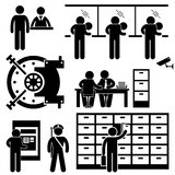Packa ihop pictogramen för affärsfinansarbetaren vektor illustrationer