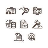 En uppsättning av plana symboler på ett tema av affären Royaltyfria Bilder
