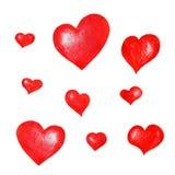 En uppsättning av röda hand-drog hjärtor för designen, sammansättning, hälsningar royaltyfri illustrationer