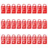 En uppsättning av röda vita etiketter med ordförsäljningen och en indikering av intresse stock illustrationer