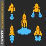 En uppsättning av raket på ett startup tema på en svart bakgrund Arkivbild
