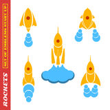 En uppsättning av raket på ett startup tema på en vit bakgrund Royaltyfria Foton