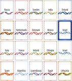 En uppsättning av ramar av färgbandflaggor av flera länder stock illustrationer