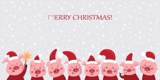 En uppsättning av roliga och gulliga svin för garneringferiekort Julsvin också vektor för coreldrawillustration stock illustrationer