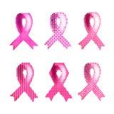 En uppsättning av rosa band mot bröstcancer rosa band för bröstcancer stock illustrationer