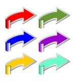 En uppsättning av rullande pilar i sex färgvarianter Fotografering för Bildbyråer
